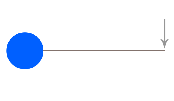 This is how far away geosynchronous orbit is, relative to the size of the earth.  The arrow is just for illustration, and does not represent a giant space arrow orbiting the planet.