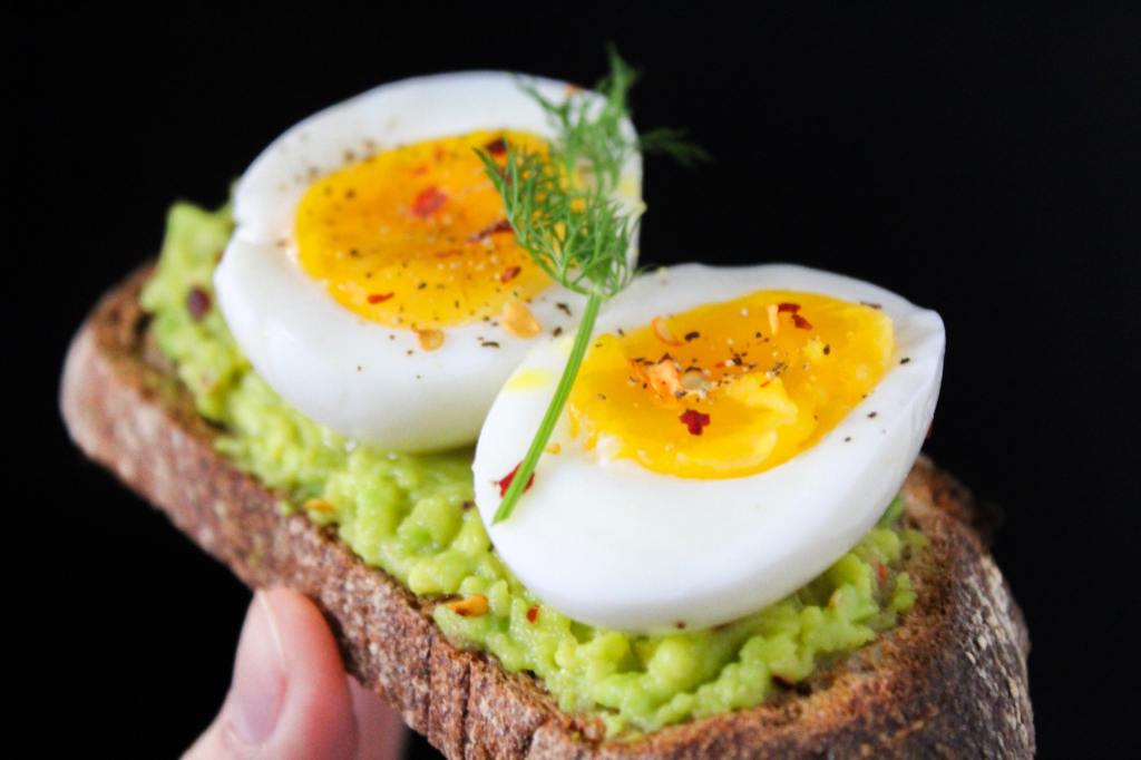 Hard boiled eggs on toast